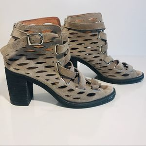 JEFFREY CAMPBELL Cut-Out Booties Taupe Suede 7.5
